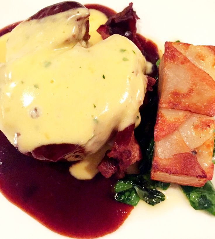 Filet mignon with sautéed baby spinach, potatoes sardelaise, red wine jus & bernaise
