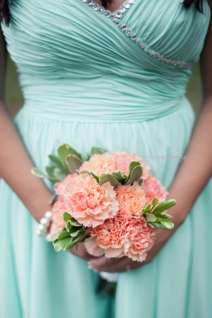 Sea foam bridesmaids dress and coral carnation bouquet - St. Louis Photographer | Michelle Schwartz Photography | Wedding   http://michelleschwartz.zenfolio.com/