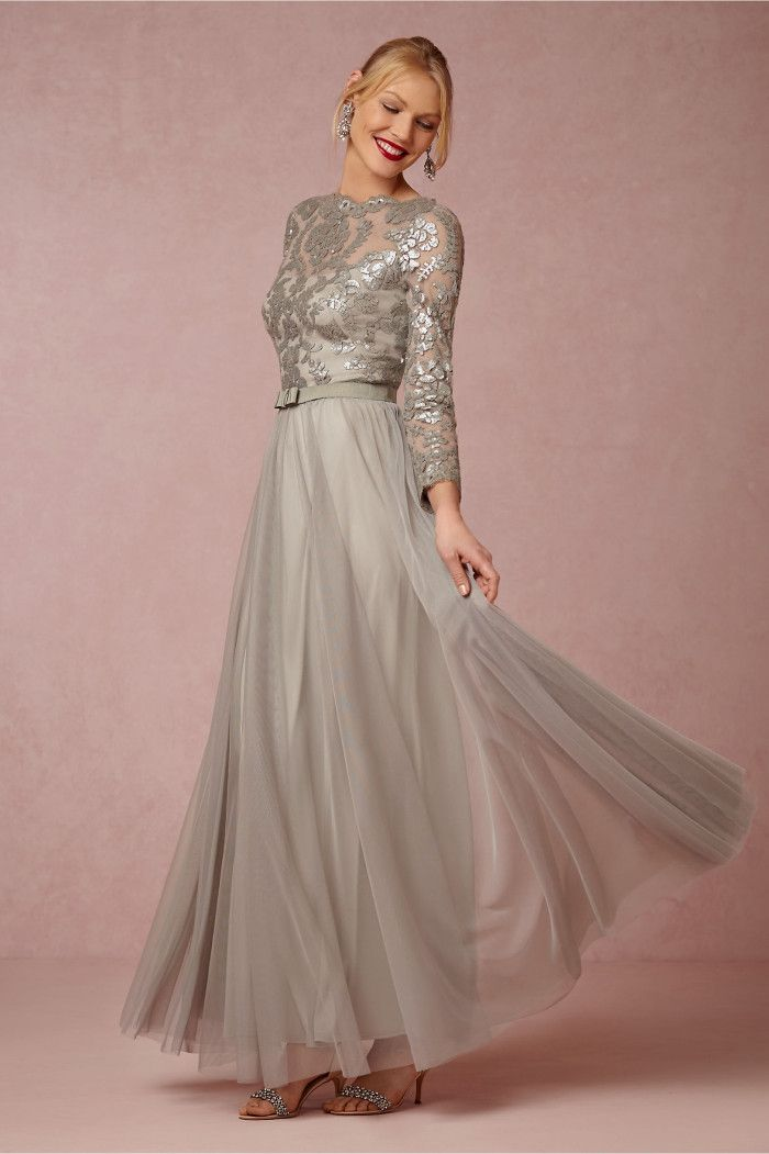 Silver long sleeve gown for mother of the bride or mother of the groom | 'Lucille Dress' from BHLDN @BHLDN