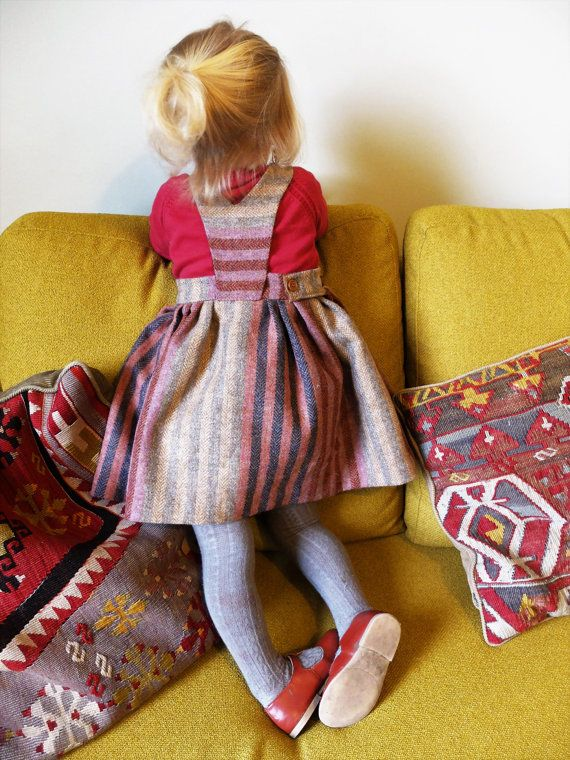 You Are Small...Girls Striped Dungaree Skirt. 100% by YouAreSmall