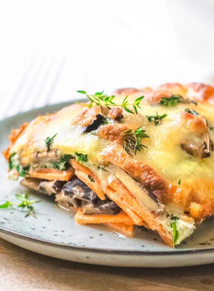Lasagne van zoete aardappel met spinaziericotta
