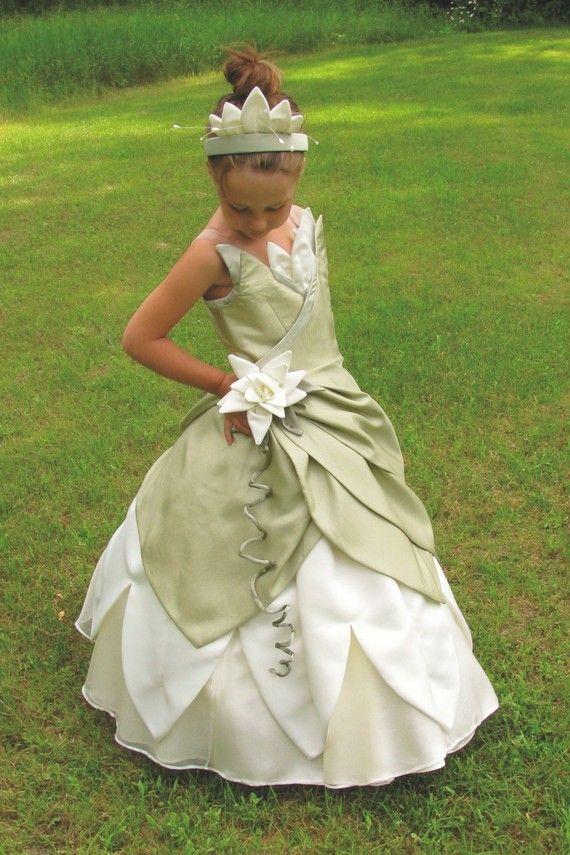 Child's Princess and The Frog Costume Dress Custom Made. $600,00, via Etsy.