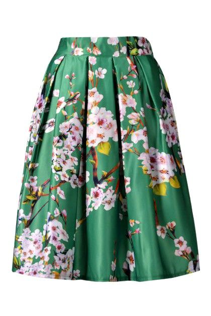 Spring Green Sakura Skater Skirt With Pleat