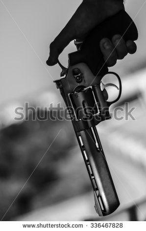 Hand pistol black and white - stock photo