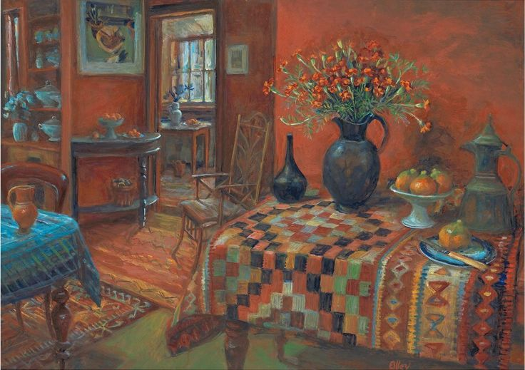 "Margaret Olley (1923-2011) - ""Kelim rug and marigolds"", c.1995 - Oil on board (Private collection)"