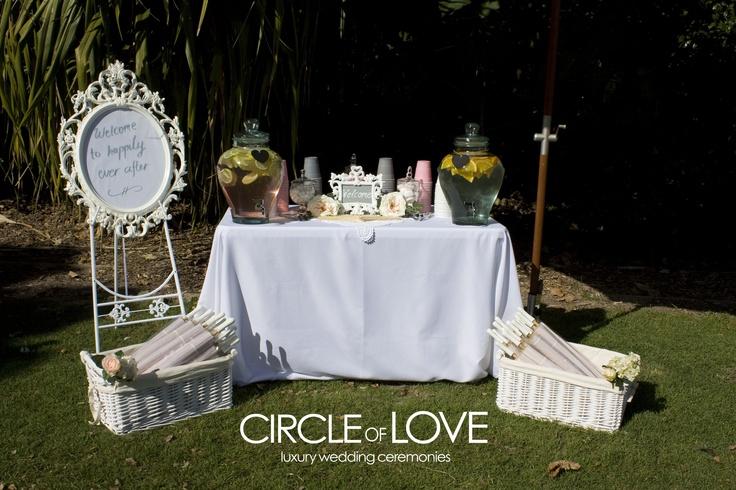 Luxury Wedding Ceremony Drinks station http://circleofloveweddings.com.au/