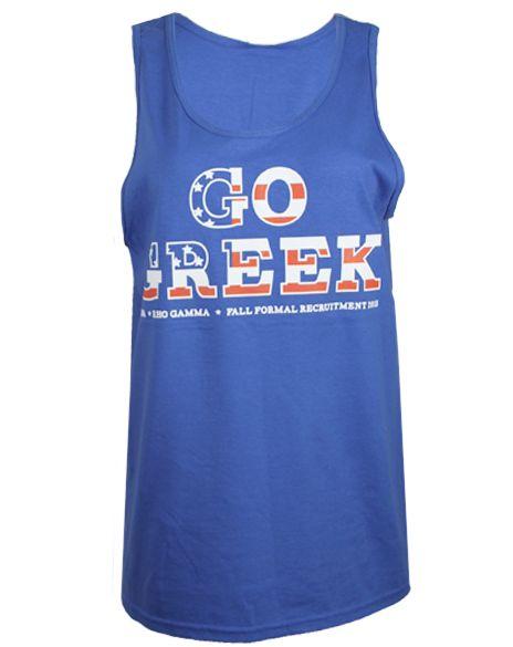 Rho Gamma Go Greek Tank Top by Adam Block Design | Custom Greek Apparel & Sorority Clothes | www.adamblockdesign.com