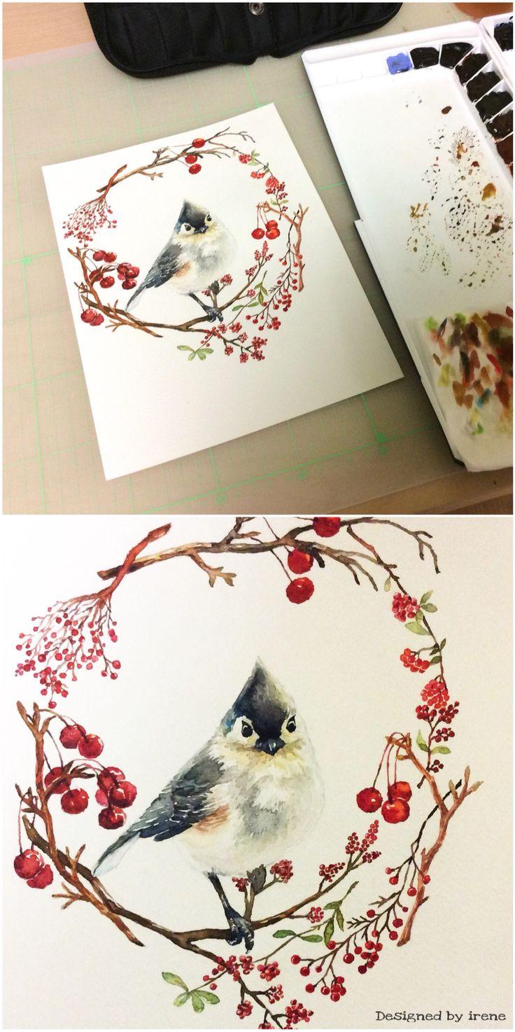 Bird-겨울새❤️ 새 이미지 참고: http://rollo-christina.artistwebsites.com/featured/cute-winter-bird-tufted-titmouse-christina-rollo.html