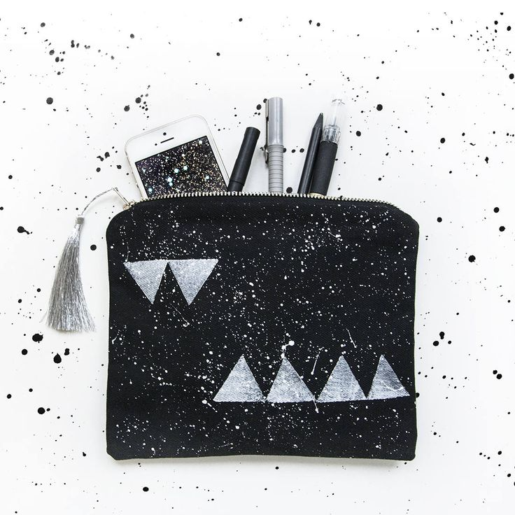 Triangle bag, medium pouch, handpainted stars, cosmic, galaxy pattern, silver tassel, black cosmeticbag, travel pouch, Christmas gift