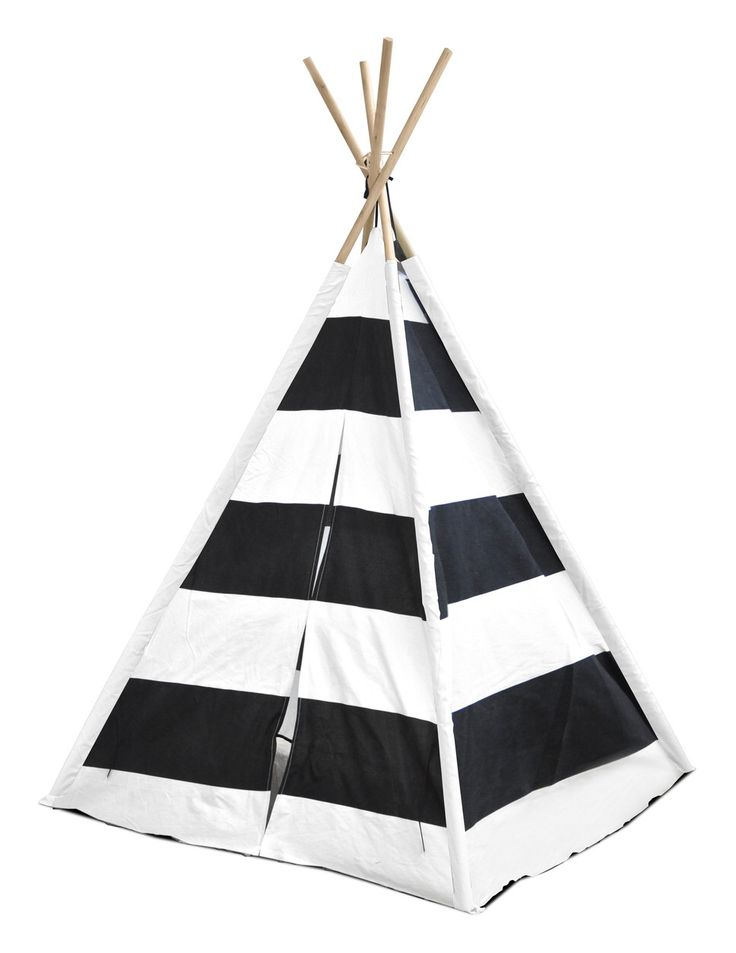 Features:  -Kids Play collection.  -Material: Cotton, wood and plastic.  -Color: Black and white.  -Pattern: Stripes.  -Spot clean only.  -Tent is foldable, and you may take it down for the storage an