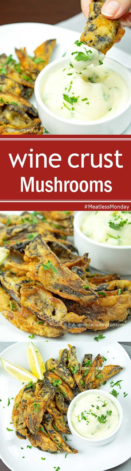 Fried Mushrooms in wine crust with garlicky mashed potatoes