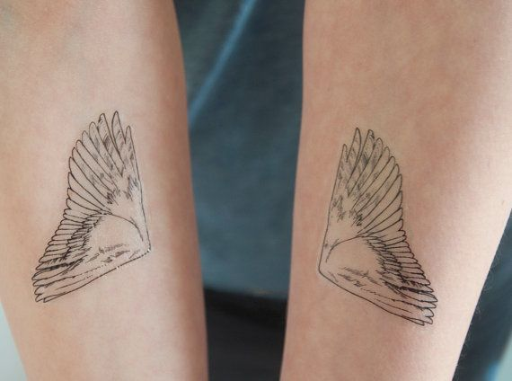 Bird Wing Temporary Tattoo, Angel Wings Tattoo Temporary, Black, Birthday Gift, …,  #Angel …