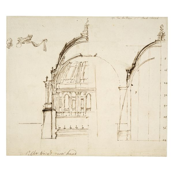 Christopher Wren's design for the Dome of St Paul's Catherdral.   St Paul's Cathedral, a medieval Gothic structure, burnt down in the Great Fire of London in 1666. Wren altered the shape and profile of the dome over his new building  several times, but it was not until around 1697 that the exact design for the dome was agreed; it was finally completed in 1710.