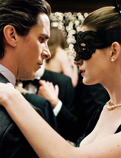 "Christian Bale Ann Hathaway in ""The Dark Knight"""