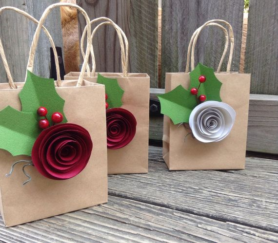Kraft gift bags. Shabby chic. Paper flowers. Gift bags. YOUR COLORS. Holiday gift bag. Christmas wrap