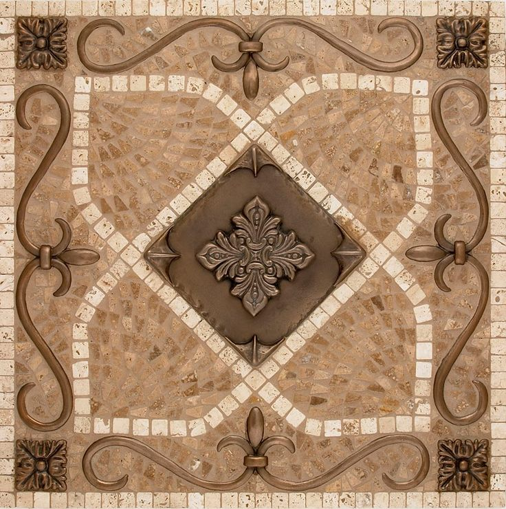 "Renaissance Medallion 18"" X 18"" Bronze-Highlight Polish, light travertine & noche stone Mosaics can be customized to meet your specified size requirement. Available in any metal / any finish / any stone www.landmarkmetaltile.com #metaltile #LandmarkMetalcoat"