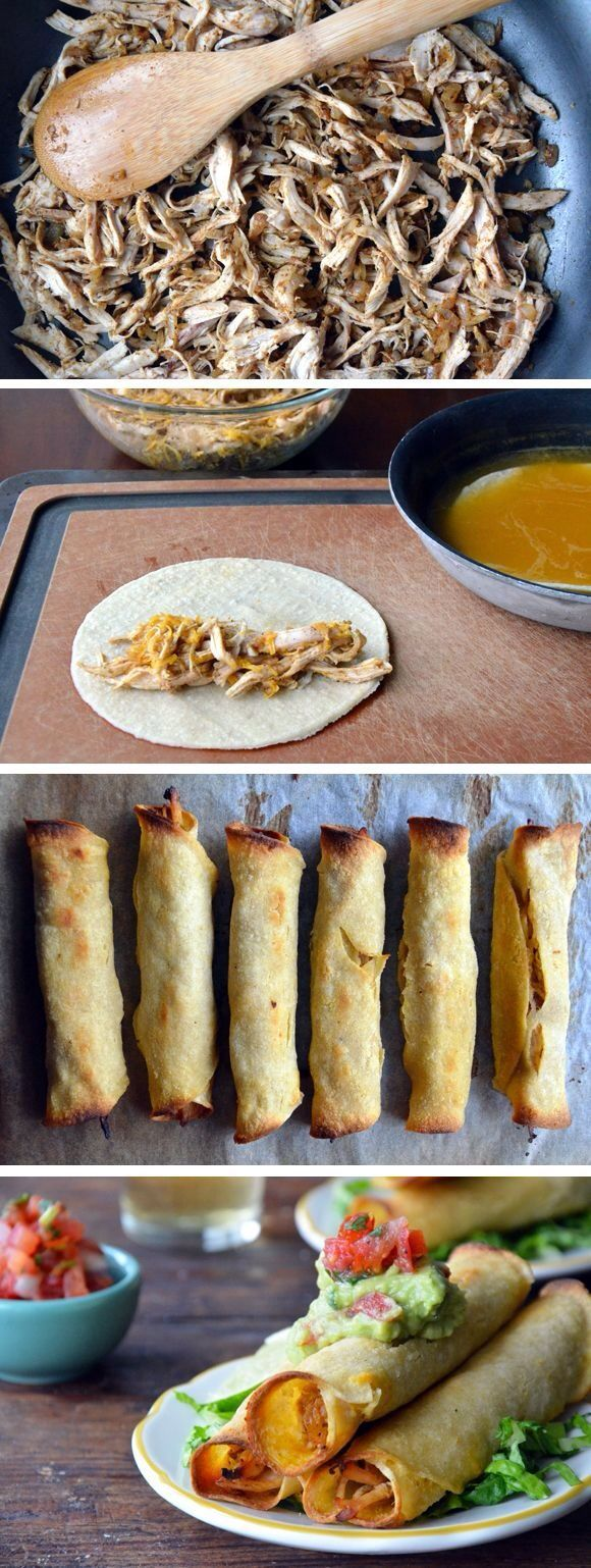 healthy baked chicken cheese taquitos - could also use pulled pork