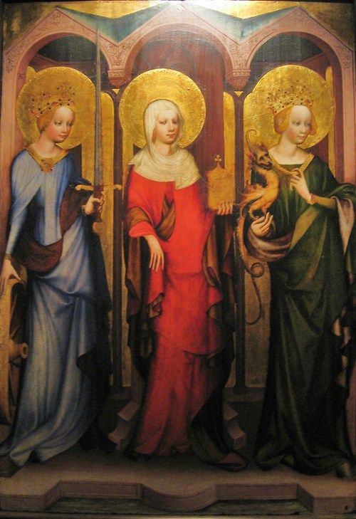 Section of the Třeboň Altarpiece depicting Sts. Catherine of Alexandria, Mary Magdalene, and Margaret of Antioch, Bohemian, c. 1380.