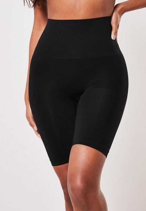 Black Mid Thigh Bum Lift Control Knickers