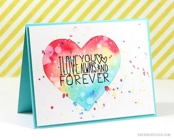easy watercolored card with distress ink and masking fluid - Pinterest Valentines Cards