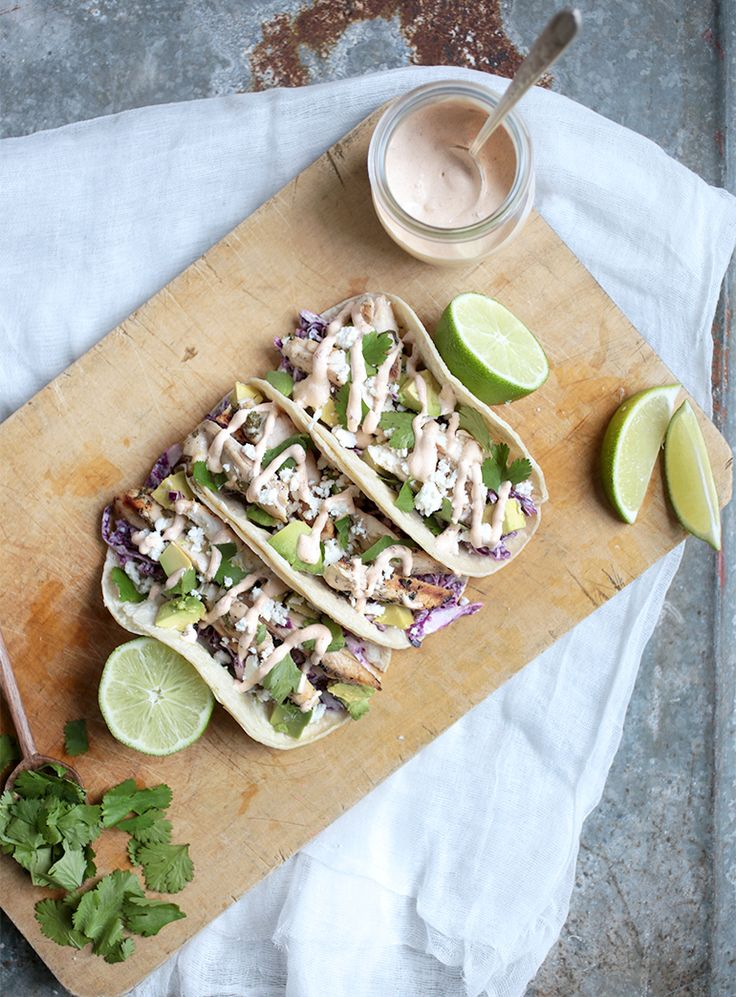 Cilantro Lime Chicken Tacos with Chipotle Crema; merry thought