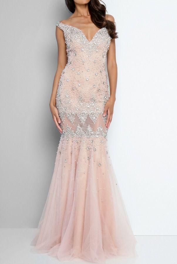 529ebcd08e Terani Couture 1811P5269 Off Shoulder Illusion Evening Dress Gown ...