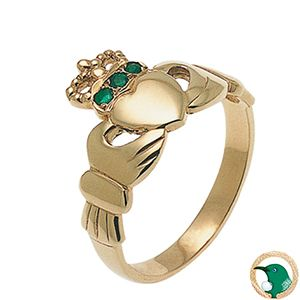 Our ladies 9ct yellow gold Claddagh ring with three natural emeralds set in the crown.