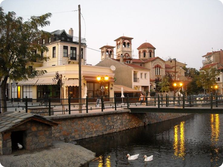 Sakoulevas river and the Cathedral of Florina, Greece