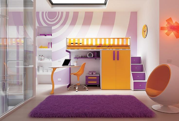 """#Arredamento #Cameretta Moretti Compact: Collezione 2012 """"Team"""" > Kids – Soluzione a #Soppalco >> ks23 http://www.moretticompact.it/kids.htm"""