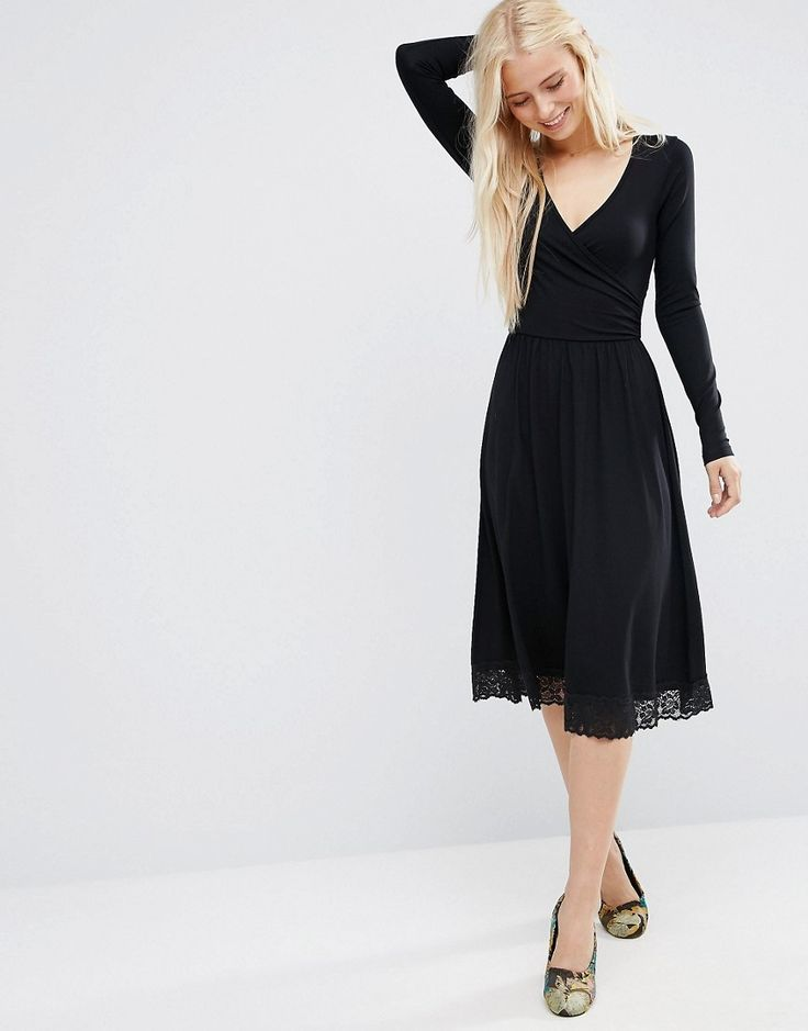 Image 4 of ASOS Midi Wrap Dress with Lace Hem