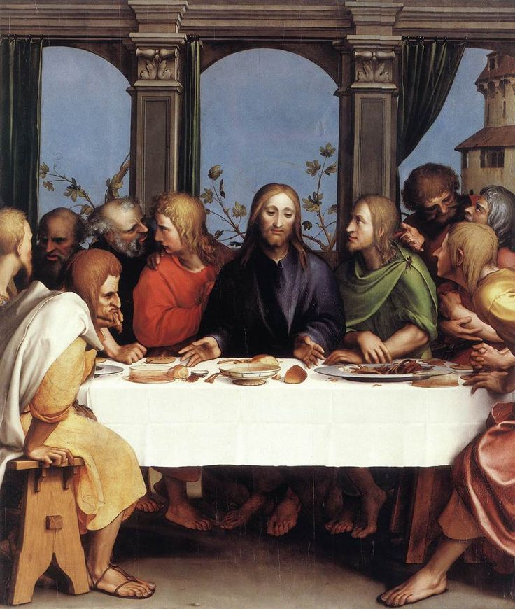 """Hans Holbein (Hans Holbein the Younger) (c1497-1543) The Last Supper Oil on limewood 1524-1525 115.5 x 97.3 cm (45.47"""" x 38.31"""") Kunstmuseum, ÷ffentliche Kunstsammlung (Basle, Germany)"""