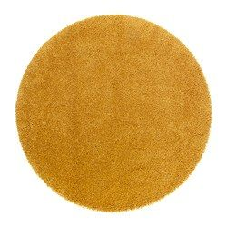 "ÅDUM rug, high pile, yellow Diameter: 4 ' 3 "" Area: 14.32 sq feet Surface density: 10.81 oz/sq ft Diameter: 130 cm Area: 1.33 m² Surface density: 3300 g/m²"