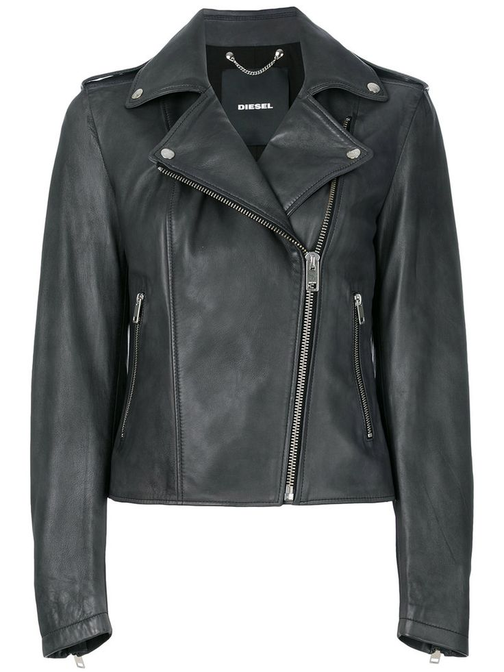 ¡Cómpralo ya!. Diesel - Cropped Biker Jacket - Women - Cotton/Lamb Skin - L. Black leather cropped biker jacket from Diesel. Size: L. Color: Grey. Gender: Female. Material: Cotton/Lamb Skin. , chaquetadecuero, polipiel, biker, ante, antelina, chupa, decuero, leather, suede, suedette, fauxleather, chaquetadecuero, lederjacke, chaquetadecuero, vesteencuir, giaccaincuio, piel. Chaqueta de cuero  de mujer color gris de Diesel.