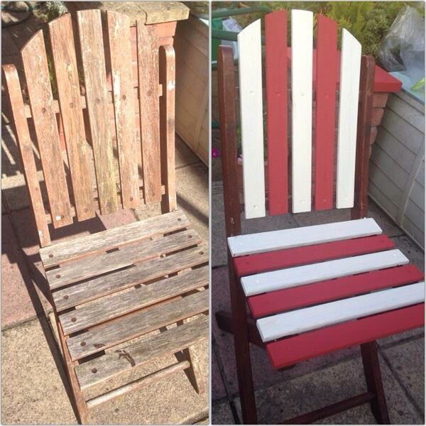 Up-cycled old wooded patio chairs using a nautical deck chair theme! Simple but effective!