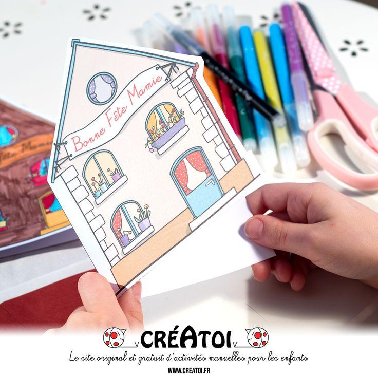 Une carte à offrir - Une jolie carte en forme de maison pour écrire des gentils mots à ta grand-mère.