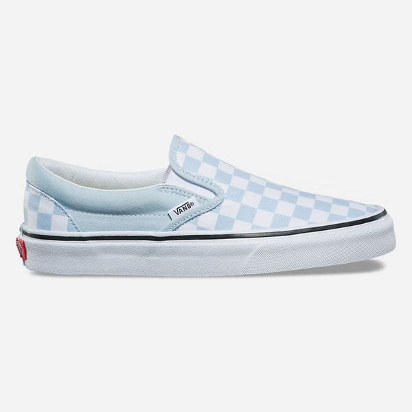 50e484c434 Vans Checkerboard Baby Blue Slip-On Shoes ( 50) ❤ liked on Polyvore  featuring shoes