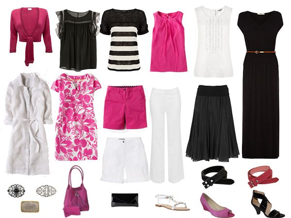 Weekly Outfit - Holiday Capsule Wardrobe of Black, White & Pink - 16 Outfit options