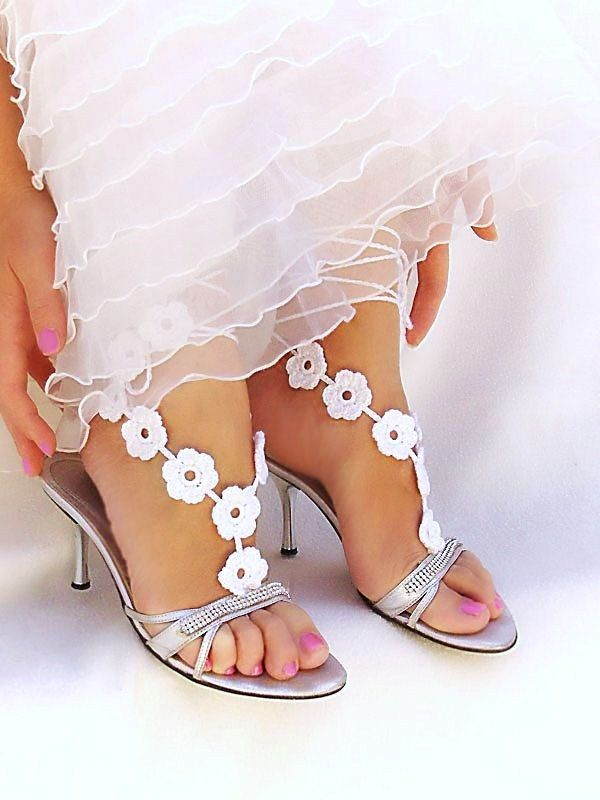 Wedding  barefoot sandals, white bridal crochet  barefoot sandles, nude shoes, foot jewelry, victorian, lace, Beach Party. €14.00, via Etsy.