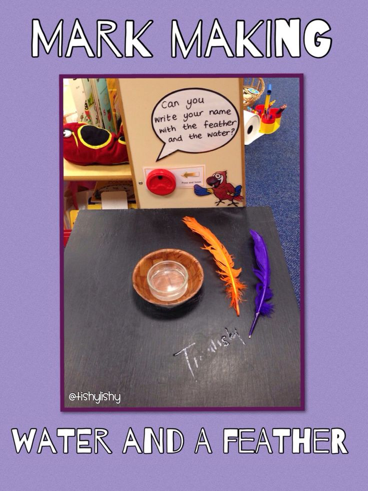 The chalk table has water and feathers available. Children will be encouraged to mark make.