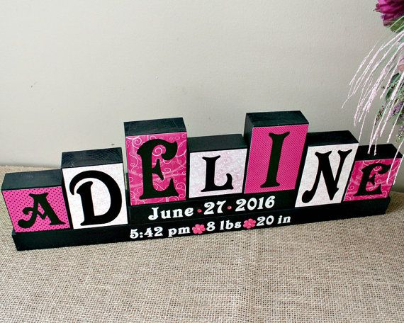 Baby Name Letters Decorative Block, Unique Baby Gift, Child Room Decor, Personalized Birth Announcement Blocks, 7 Letters First Name Sign