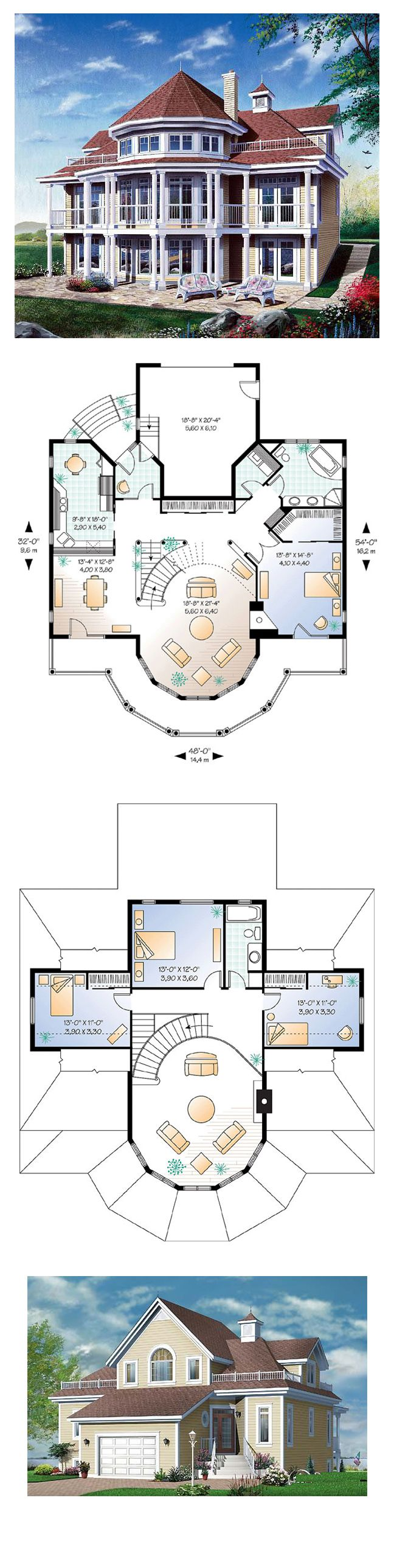 Coastal House Plan 64807 | Total Living Area: 2348 sq. ft., 4 bedrooms & 2 bathrooms. Distintive elements: Exterior covered balcony on two levels and accessible from family room and master bedroom, see-thru fireplace shared between family room and master bedroom, large front entrance foyer, access to basement from garage, corner bath and dual sinks in bathroom on main level. #coastalstyle #houseplan