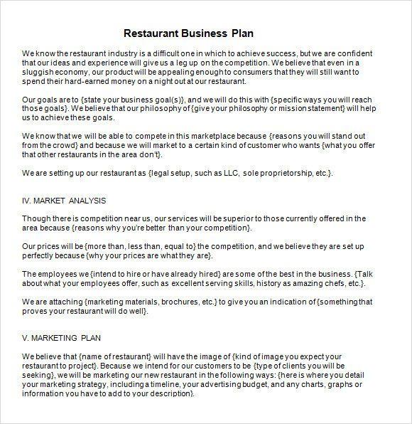 Restaurant Business Plan Template Word Inspirational 13 Sample Restaurant Busin Restaurant Business Plan Business Plan Template Pdf Business Plan Template Word