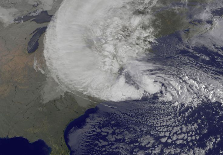 Visible image of Hurricane Sandy battering the U.S. East coast on Monday, Oct. 29 at 9:10 a.m. EDT. Sandy's center was about 310 miles south-southeast of New York City. Tropical Storm force winds are about 1,000 miles in diameter. Credit: NASA GOES Project #Hurricane Sandy #NASA
