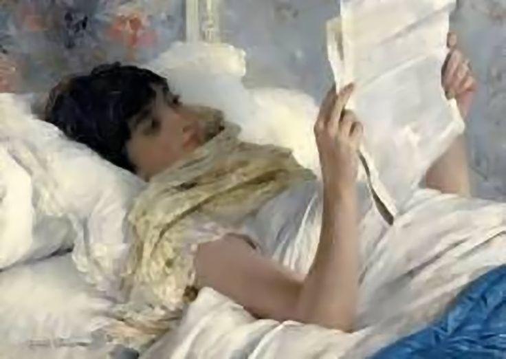 Woman reading in bed - Julius Garibaldi Gari Melchers American 1860-1932 Oil on canvas, 64.7 x 76.1 cm