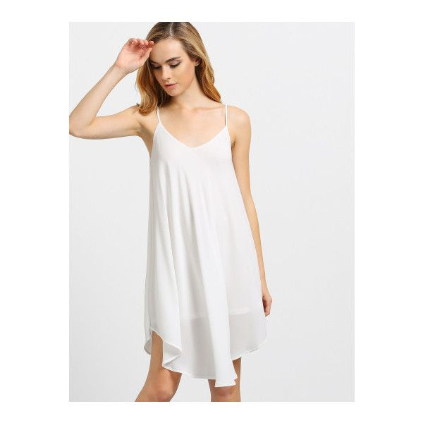 SheIn(sheinside) Ivory Spaghetti Strap Asymmetrical Shift Dress... (£10) ❤ liked on Polyvore featuring dresses, white, short white dresses, short sleeve dress, white sundress, white shift dress and short slip
