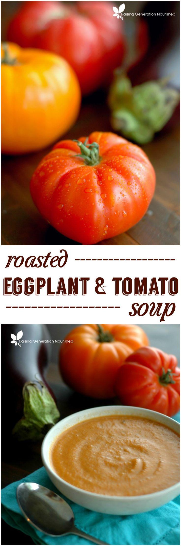Roasted Eggplant & Tomato Soup :: Summer's prettiest heirloom tomatoe...