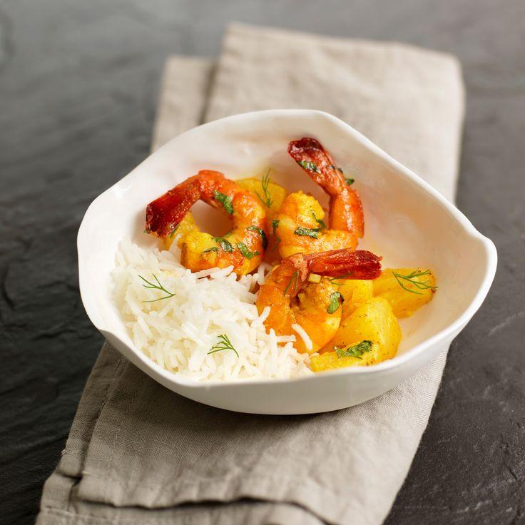 Découvrez la recette colombo à l'antillaise de crevettes à l'ananas sur cuisineactuelle.fr.