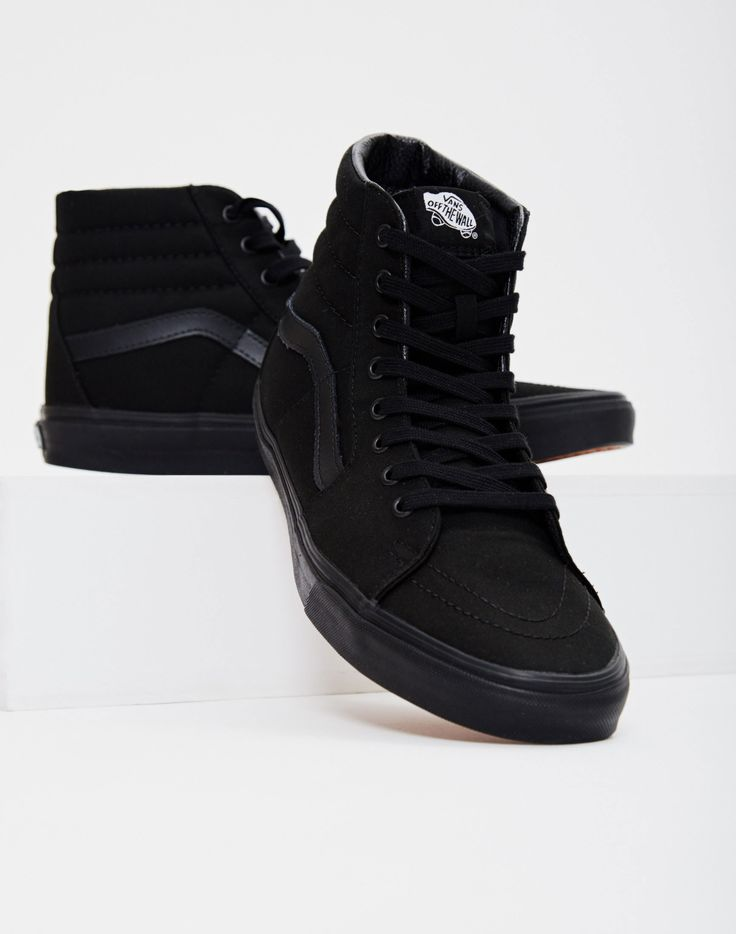 vans all black leather high tops