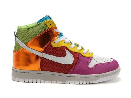 Expédition rapide de Rainbow chaussures Nikes Dunk High Top 6.0 Premium  femmes métallique rouge rose Gold