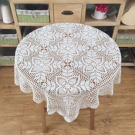 crochet square table cover, Vintage style tablecloth, Chic pattern table topper #Handmade